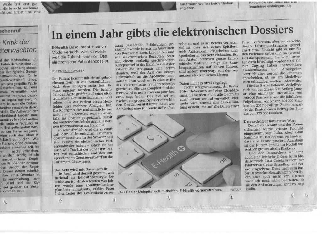 ePatientendossier Basellandschaftliche Zeitung